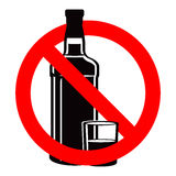 Bottle of alcohol drink and stemware in no allowed sign Royalty Free Stock Image