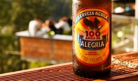 A bottle of Alegria beer in Colombia. Cold beer royalty free stock photography