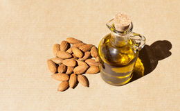 Bottle of almond oil Stock Image