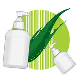 Bottle with aloe vera cream or soap. Ads template Royalty Free Stock Photography