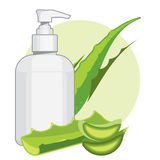 Bottle with aloe vera cream or soap. Ads template Royalty Free Stock Photo