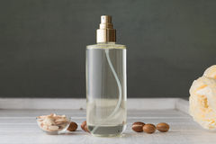 Bottle of argan oil with seeds and fruits Royalty Free Stock Photography