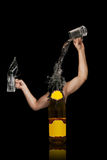 Bottle with arms. Bottle poring liquid from cups with arms. Free space for text on the bottle stock photography
