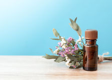 Bottle of aroma oil and wild flowers Royalty Free Stock Photo