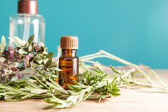 Bottle with aromatic oil and rosemary Royalty Free Stock Photos