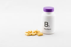 Bottle of B2 vitamins Royalty Free Stock Photography