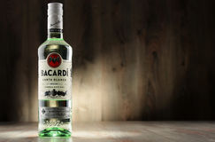 Bottle of Bacardi white rum. POZNAN, POLAND - DEC 8, 2016: Bacardi white rum is a product of Bacardi Limited, the largest privately held, family-owned spirits Stock Photography