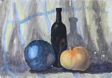 Bottle ball zucchini on bedsheet. Drawing watercolor. Stock Image