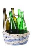 Bottle in basket Royalty Free Stock Images