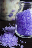 Bottle of bath salt with lavender extract Stock Photography