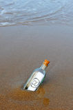 Bottle on the beach, @, e mail Stock Image