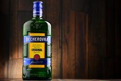Bottle of Becherovka bitters Royalty Free Stock Photo