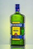 Bottle of Becherovka on gradient background. Stock Images