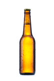 Bottle with beer. And drops on white background Stock Photo