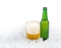 Bottle of beer and beer mug Royalty Free Stock Images