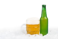 Bottle of beer and beer mug Royalty Free Stock Image