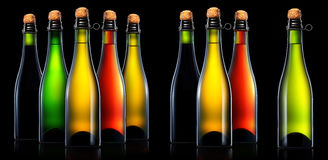 Bottle of beer, cider or champagne isolated Royalty Free Stock Photography