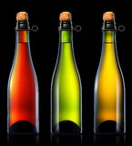 Bottle of beer, cider or champagne isolated Royalty Free Stock Images