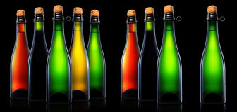 Bottle of beer, cider or champagne isolated Stock Images
