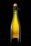 Bottle of beer, cider or champagne isolated on black background Royalty Free Stock Images