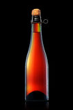 Bottle of beer, cider or champagne isolated on black background Royalty Free Stock Photo