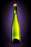 Bottle of beer, cider or champagne isolated on black gradient background Stock Image