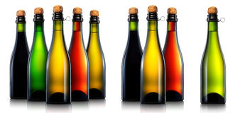 Bottle of beer, cider or champagne isolated Stock Image