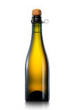 Bottle of beer, cider or champagne isolated on white background Royalty Free Stock Photography