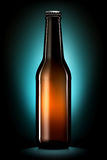 Bottle of beer or cider isolated on dark blue background Stock Image