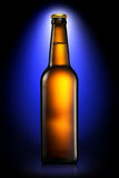 Bottle of beer or cider isolated on dark blue background Stock Photos