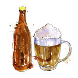 Bottle of beer and cup Royalty Free Stock Photography