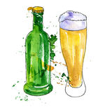 Bottle of beer and cup Stock Photography