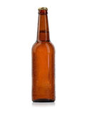 Bottle of beer with drops isolated Stock Photography