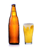 Bottle of beer and glass of beer Royalty Free Stock Photo