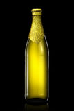 Bottle of beer with golden foil isolated on black background Royalty Free Stock Image