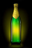 Bottle of beer with golden foil isolated on black background Stock Photos