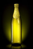 Bottle of beer with golden foil isolated on black background Royalty Free Stock Photography