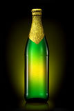 Bottle of beer with golden foil isolated on black background Stock Images
