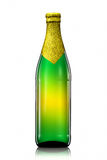 Bottle of beer with golden foil isolated on white background Royalty Free Stock Photography