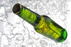 Bottle of beer on ice Royalty Free Stock Photography