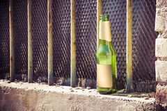 Bottle of beer left on the windowsill of an old window Stock Image