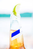 Bottle of beer with lime slices Royalty Free Stock Images