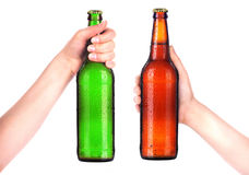 Bottle of beer with man hand making toast isolated on white. Background Royalty Free Stock Photos