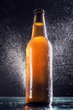 Bottle of beer sprayed with water Royalty Free Stock Photo