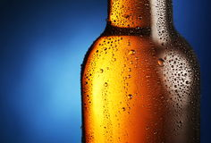 Bottle of beer with water drops. Stock Image