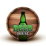 Bottle Of Beer And Wooden Barrel Banner Vector. Green Flask And Brown Liquid Container On Background Detail Of Advertising Poster Beer House. Bright Template vector illustration