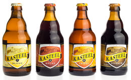 Bottle of Belgian Kasteel Tripel, Donker, Blonde and Red beer Stock Photos