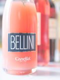Bottle of Bellini cocktail. SUMY, UKRAINE - JANUARY 25, 2017: Bottle of Bellini by Canella. Bellini is cocktail composed of prosecco sparkling wine and peach Stock Images