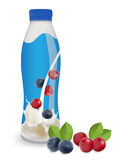 Bottle of berry yogurt. Royalty Free Stock Photography