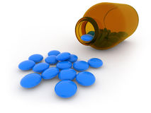 Bottle of blue pills Royalty Free Stock Photo